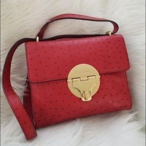 NWT Micheal Kors Margo Red Ostrich Shoulder Bag